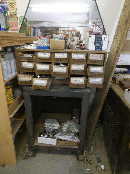 Lot # 185-Antique cart with attached wood organizer plus metal decorative pieces (main image)
