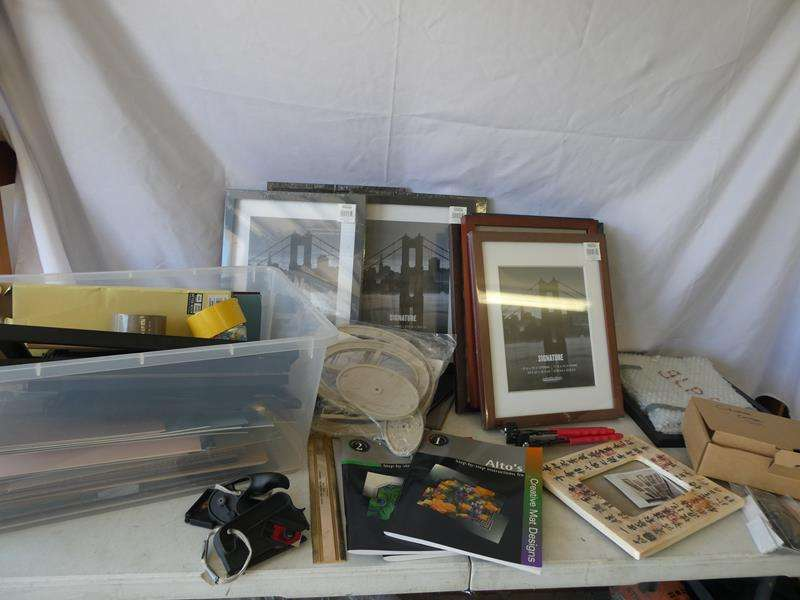 Lot # 192-Photographers paradise includes new frames, matting supplies, templates, circular cutter and glass (main image)