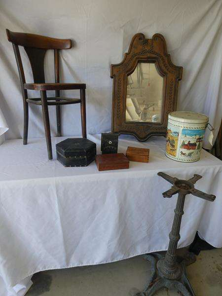 Lot # 195- Cool antique items including a casino machine stand, chair, mirror, small boxes, tin (main image)
