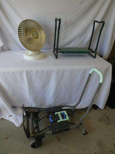 Lot # 197- Cosco dolly plus Presto heatdish and garden foldable sit or kneel bench (main image)