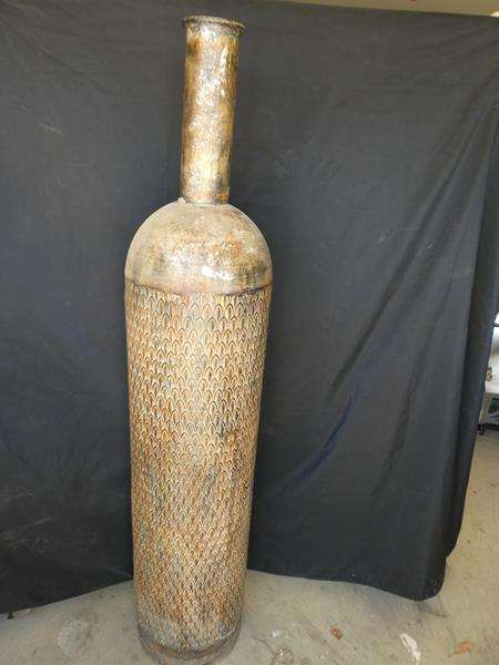 Lot # 199- Five foot extra large decorative vase along with a wind chime (main image)