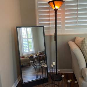 Lot # 10- Floor mirror by Tashi piermont,  Unique lamp and candle holder
