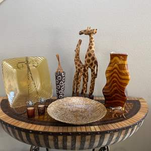 Lot # 11- Out of Africa; giraffe decor, glass vase , bowl and more