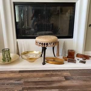 Lot # 18- Senegal treasures, beautiful keepsake boxes, stool with fabric top, glass bowls and 4 Christmas tree candles