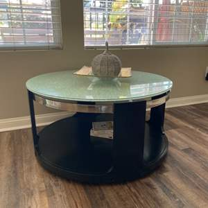 Lot # 19-Accent table with glass top  and more