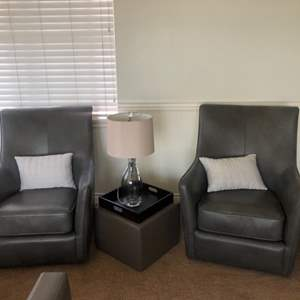 Lot # 61- Sitting Area! Cute Faux Leather Chairs and more!