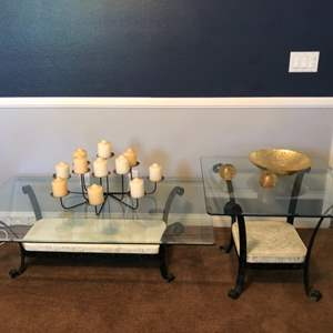 Lot # 69-Stone Base, Wrought Iron Coffee Table with End Table and more!
