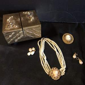 Lot # 79-Vintage white Cameo pearls, brooch, and earrings & vintage jewelry box