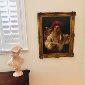 Auction Thumbnail for: Lot # 15- Vintage artwork, Romantic/ concrete bust statue