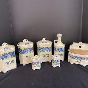 Auction Thumbnail for: Lot # 65- 7 pc Czech Lusterware Porcelain Pansy Canister Set