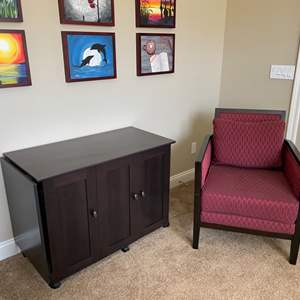 Lot # 3-Extending Credenza/Sewing Cabinet with Club Chair