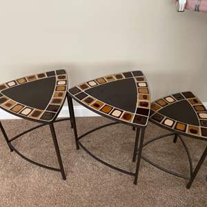 Lot # 44- Nesting Tables and Art Work