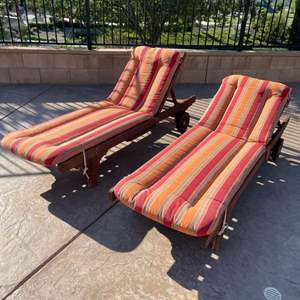 Lot # 46- Set of 2 Wooden Lounge Chairs and More!