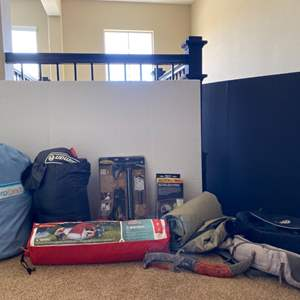 Lot # 89-Ready to hit the outdoors?Air mattress, tent and more