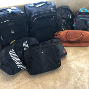 Lot # 104- Travel Essentials- 2 Carry on suitcases, Leather Duffel bag, Backpacks, Computer bag ( 9 bags total)