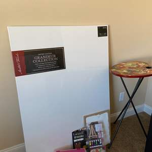 Lot # 123- Painters Dream includes Art Canvas, Artist Pallets Table and More!