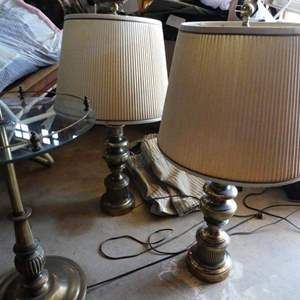 Auction Thumbnail for: Lot # 2- 3 lamps: 2 Stiffel night stand lamps and a floor lamp