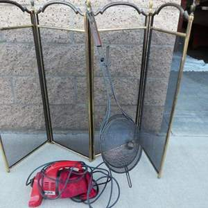 Auction Thumbnail for: Lot # 12- Fireplace screen , old fashioned popcorn popper and vacuum