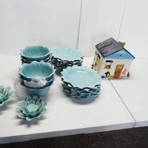 Auction Thumbnail for: Lot # 20-Cookie Jar, 16 plates, 7 bowls 2 candle holders