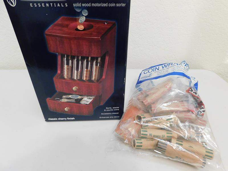 Lot # 16- Solid wood motorized coin sorter. Stafford essentials deluxe valet  (main image)