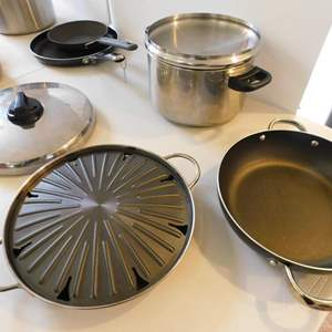 Auction Thumbnail for: Lot # 21-Amazing assorted pots, pans, stainless steel tea pot and stove top broiler.
