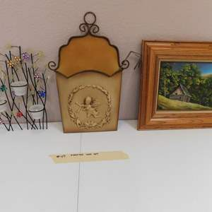 Auction Thumbnail for: Lot # 49-Fun decorative wall art. With Additional 9 Pilar vine candle holders