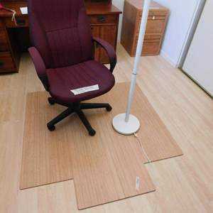 Auction Thumbnail for: Lot # 34- Almost new office chair, with floor mat and lamp