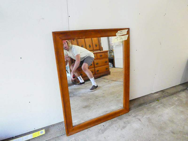 Lot # 2- Wood Mirror- Great condition (main image)