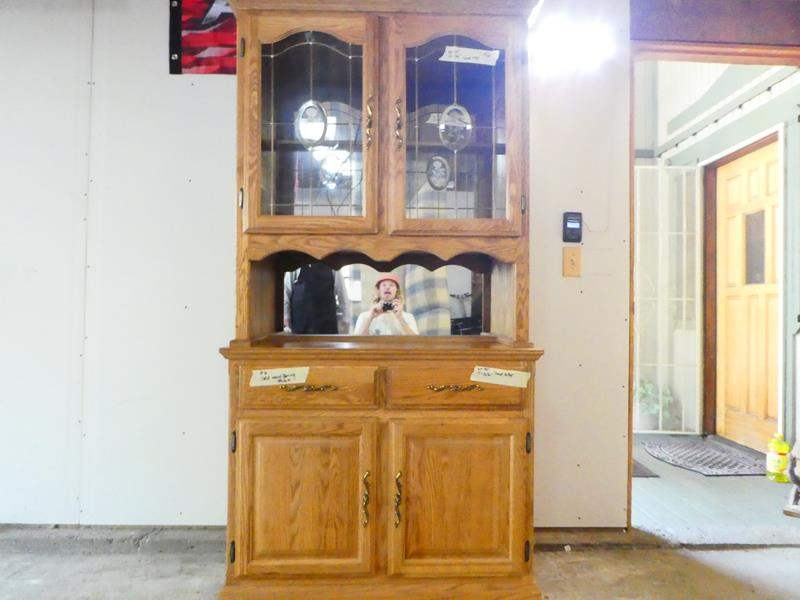 Lot # 6- Sturdy wood hutch- 2 pieces. Solid wood (main image)