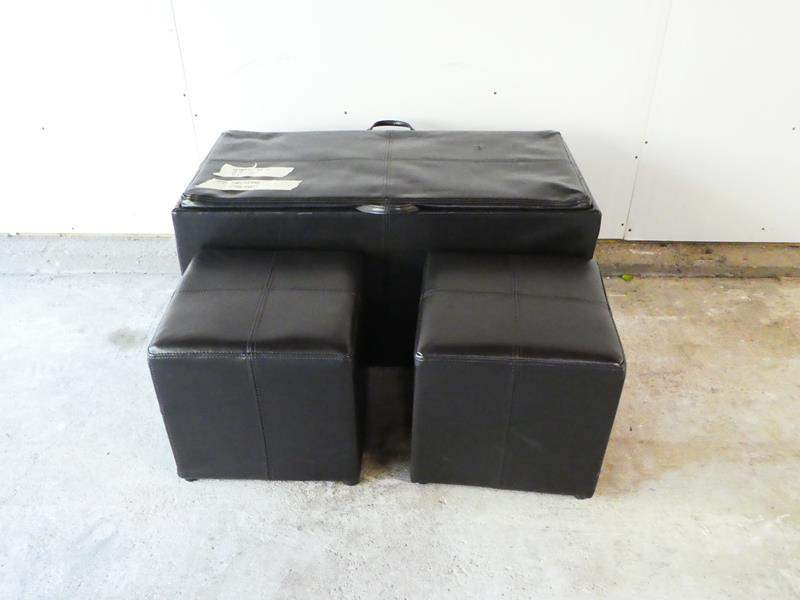 Lot # 8- Very cool ottoman with two extra foot stools and the top turns into a tv tray (main image)