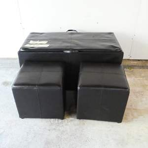Auction Thumbnail for: Lot # 8- Very cool ottoman with two extra foot stools and the top turns into a tv tray