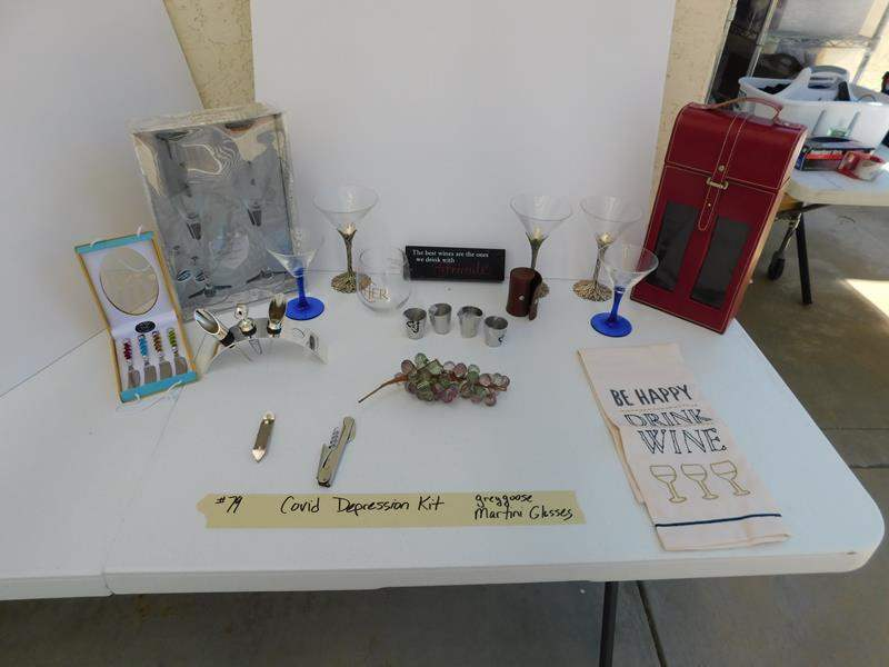 Lot # 79 covid depression kit.  Greygoose Martini glasses, etc. (main image)