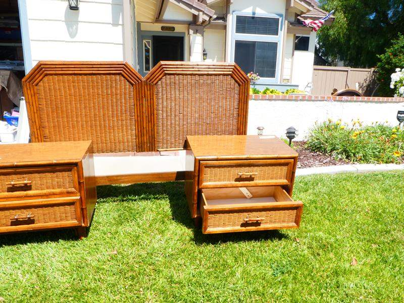 Lot # 3 Queens size bamboo/wicker style head board with matching nightstands (main image)