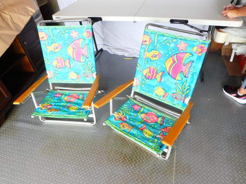 Lot # 19 Cute, colorful fold up beach chairs (main image)