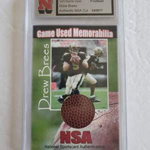 Game Used Drew Brees Football Card