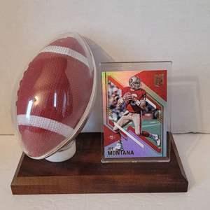 Joe Montana Card in Football Display