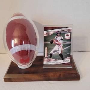 Tom Brady Card in Football Display