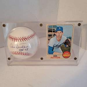 Don Sutton HOF Signed Baseball in Display