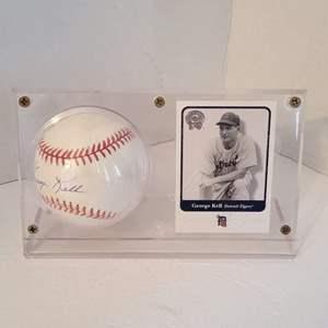George Kell Signed Baseball in Display