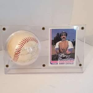 Bobby Castillo Signed Baseball in Display