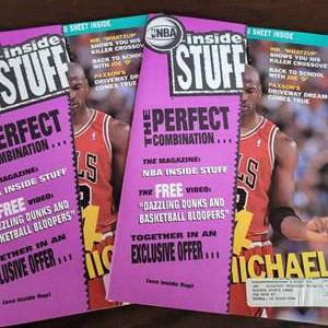1992 NBA Inside Stuff Michael Jordan Magazines w/ Uncut Sheets