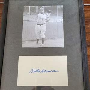 Billy Hermon Signed Card Framed