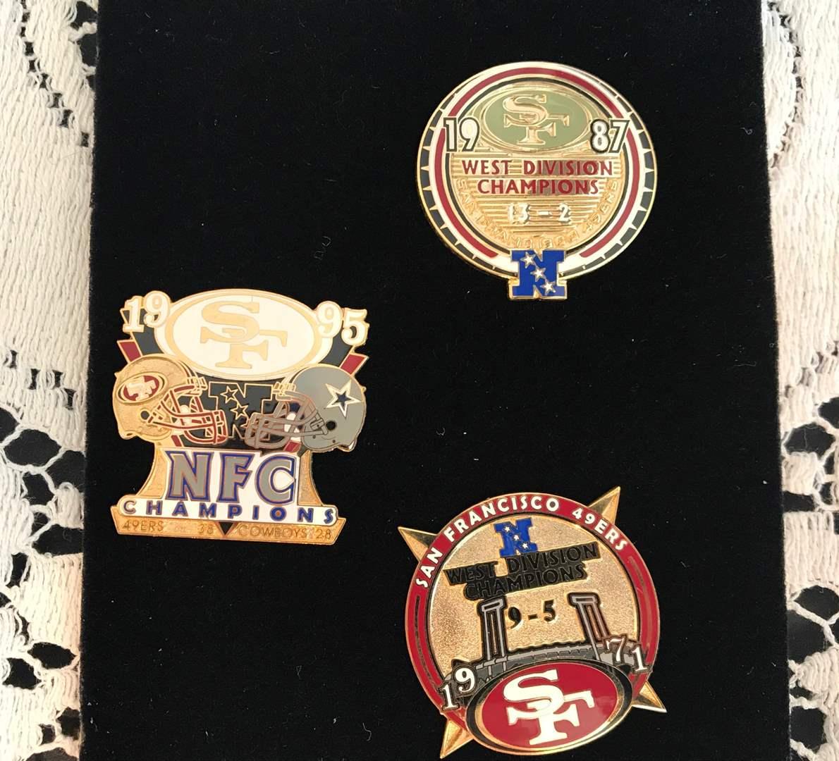 San Francisco 49ers Collectors Pins, 1971, 1987, & 1995 (main image)