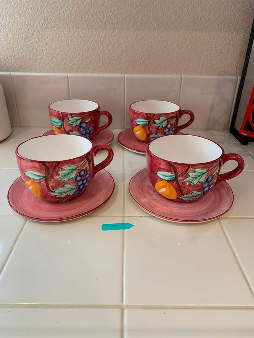 Set of 4 Crate & Barrel Large Coffee Mugs and Saucers (main image)