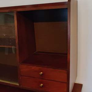 Lot # 3 mid-century cabinet 43 in wide 30 and 1/2 in tall 2 drawers and glass doors