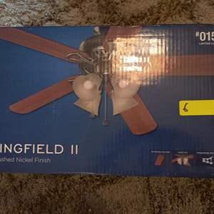 Lot # 6 brand new harbor breeze Springfield II ceiling fan in the box unopened