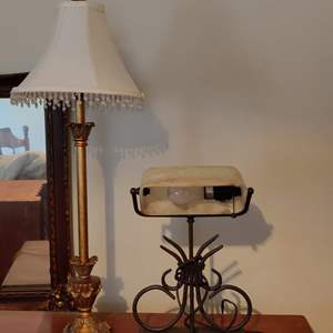 Lot # 13 lot of 2 lamp metal desk lamp with glass shade