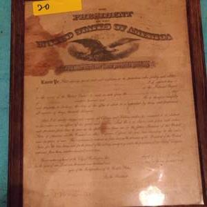 Lot # 20 framed letter from the president dated 1917 12 x 15