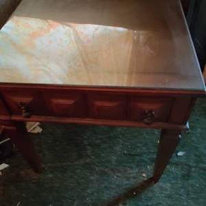 Lot # 27 pair of end tables 22 x 28 one drawer