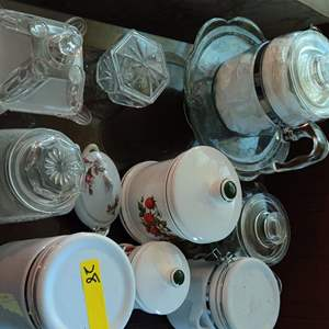 Lot # 28 a lot of glassware 11 pieces canisters candy dishes Crystal